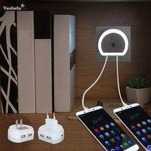 Tanbaby 2 PortLED Lamp USB Charger for Mobile Phone 2-IN-1 Travel Wall EU&US Plug with Auto Dusk to Dawn Sensor Bedroom Lighting