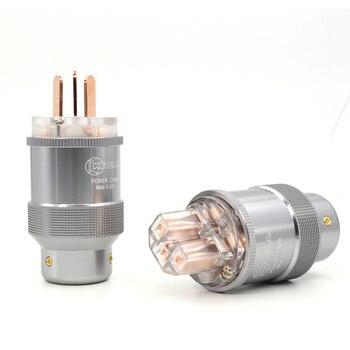 Free shipping One pair pure copper AU Power Plug HIFI Power Cord Cable Plug IEC Plug