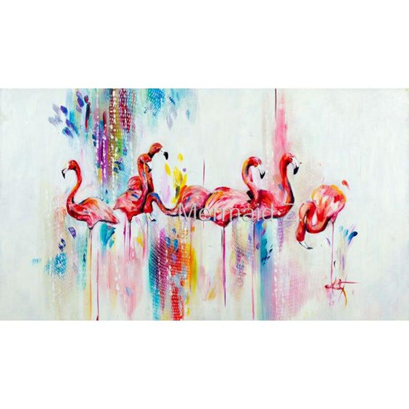 Peinture à l'huile abstraite peinte à la main flamant rose sur toile oiseau peinture à l'huile pour décoration murale peinture pour cuadros vivants