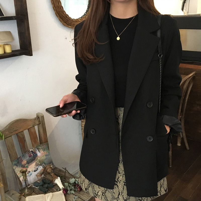 Womens suit jacket 2019 new autumn slim double-breasted black long-sleeved fashion womens clothing
