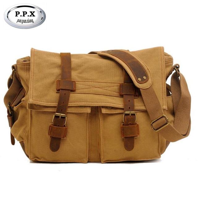 1e9aad9b91 P.P.X Retro Men Briefcase Business Shoulder Bag Canvas Messenger Bags Man Handbag  Tote Bag Casual Travel Bag Y095