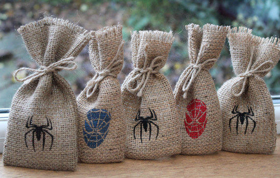 Rustic Burlap Wedding Party Gift Favour Bags Spider Man Geek Comic Book Bachelorette Hangover Survival Kit Candy Pouches In Wring