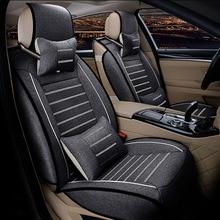 אוניברסלי מכונית פשתן מושב כיסוי עבור טויוטה קורולה קאמרי Rav4 Auris פריוס Yalis Avensis SUV אוטומטי אביזרי רכב מקלות