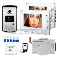 DHL LIBRE Nuevo Sistema Home 7 pulgadas de Video Teléfono de Puerta de Intercomunicación 2 Monitores Blanco + RFID Cámara Timbre + Desbloqueo Remoto En Stock