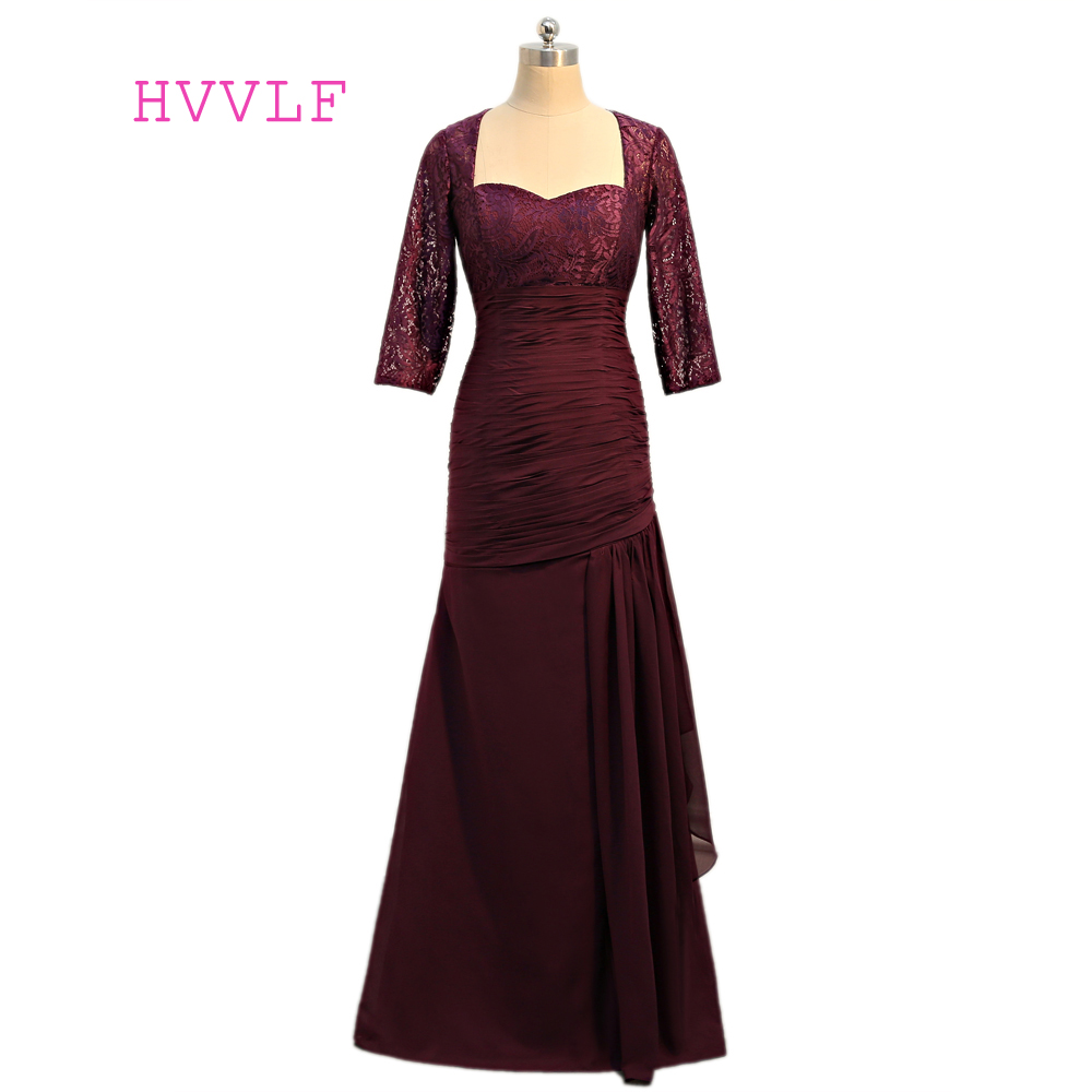 Purple 2017 Mother Of The Bride Dresses Mermaid 3 4 Sleeves Chiffon Lace Long Evening Dress Groom Mother Dresses For Weddings