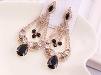 Promotion Korean Fashion Exaggerated Hollow Out Created Gem Rhinestone Earrings E2090
