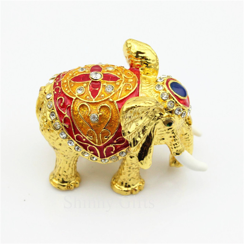 Hot Sale Animal Elephant Shape Trinket Box Crystal