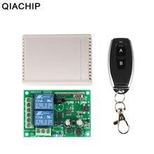 QIACHIP 433 Mhz Universal interruptor de Control remoto inalámbrico AC 250 V 110 V 220 V 2CH relé módulo receptor + 433 Mhz RF control remoto