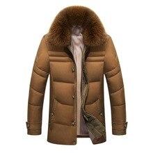2018 chaqueta de invierno hombres de alta calidad chaquetas para hombre pato blanco abajo Parkas capa con Real Fox Fur Hood