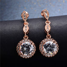 Luxury Female White Green Blue Stone Earrings Rose Gold Round Dangle Earrings For Women Hanging Water Drop Earrings(China)