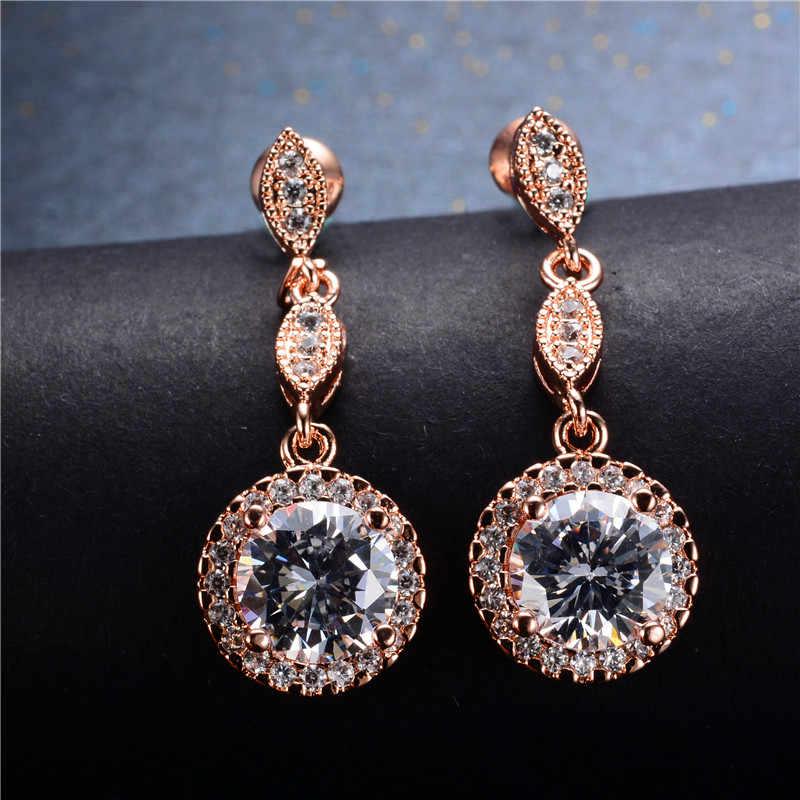 Luxus Weibliche Weiß Grün Blau Stein Ohrringe Rose Gold Runde Baumeln Ohrringe Für Frauen Hängen Wasser Tropfen Ohrringe