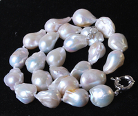 NATURAL LARGE 12 16MM WHITE BAROQUE CULTURED PEARL NECKLACE 18'