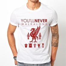 Liverpool FC LFC T-shirt Mens White Liver bird You'll Never Walk Alone YNWA Tee