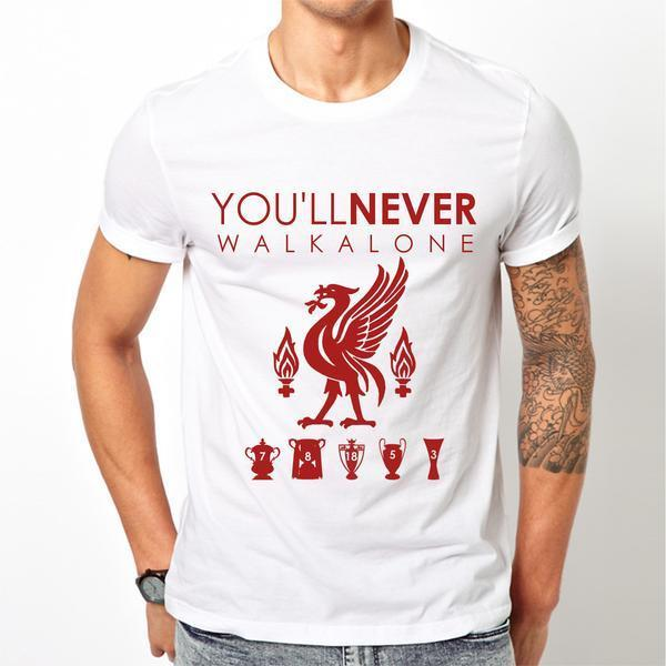 Liverpool FC LFC T-shirt Mens White Liver bird Youll Never Walk Alone YNWA Tee ...
