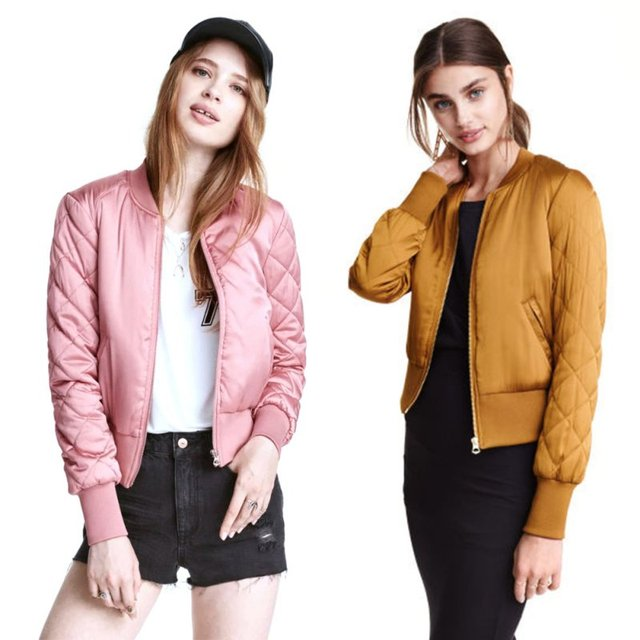 10b464f50ee Autumn Winter Solid Color Bomber Women Jacket Short Thin Padded Baseball  Coat Pilots Trendy Lady Outerwear