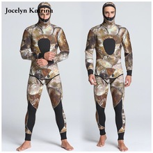 Фотография Jocelyn Katrina 5MM Two-piece Diving Suit Long Sleeve Full Body Warmth Sunblock Surf Wetsuit with Headgear Men