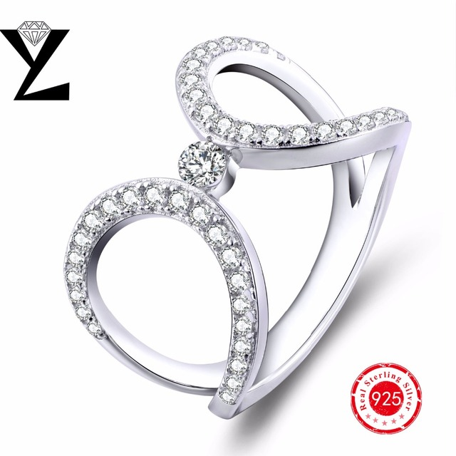 Big rings for women simple trendy 925 sterling silver ring for wedding engagement cubic zirconia simulated diamond 2016