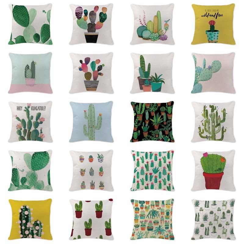 Own Photo Pillowcases Anime Cactus Cushion Cover Farmhouse Square Cotton Linen Home Decorating White Boho Lumbar Pillow Covers
