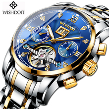 WISHDOIT 2019 New Mens Watches Silver Blue Mechanical Watch Luxury Brand Full Steel Waterproof Sport Clock Relogio Masculino+Box