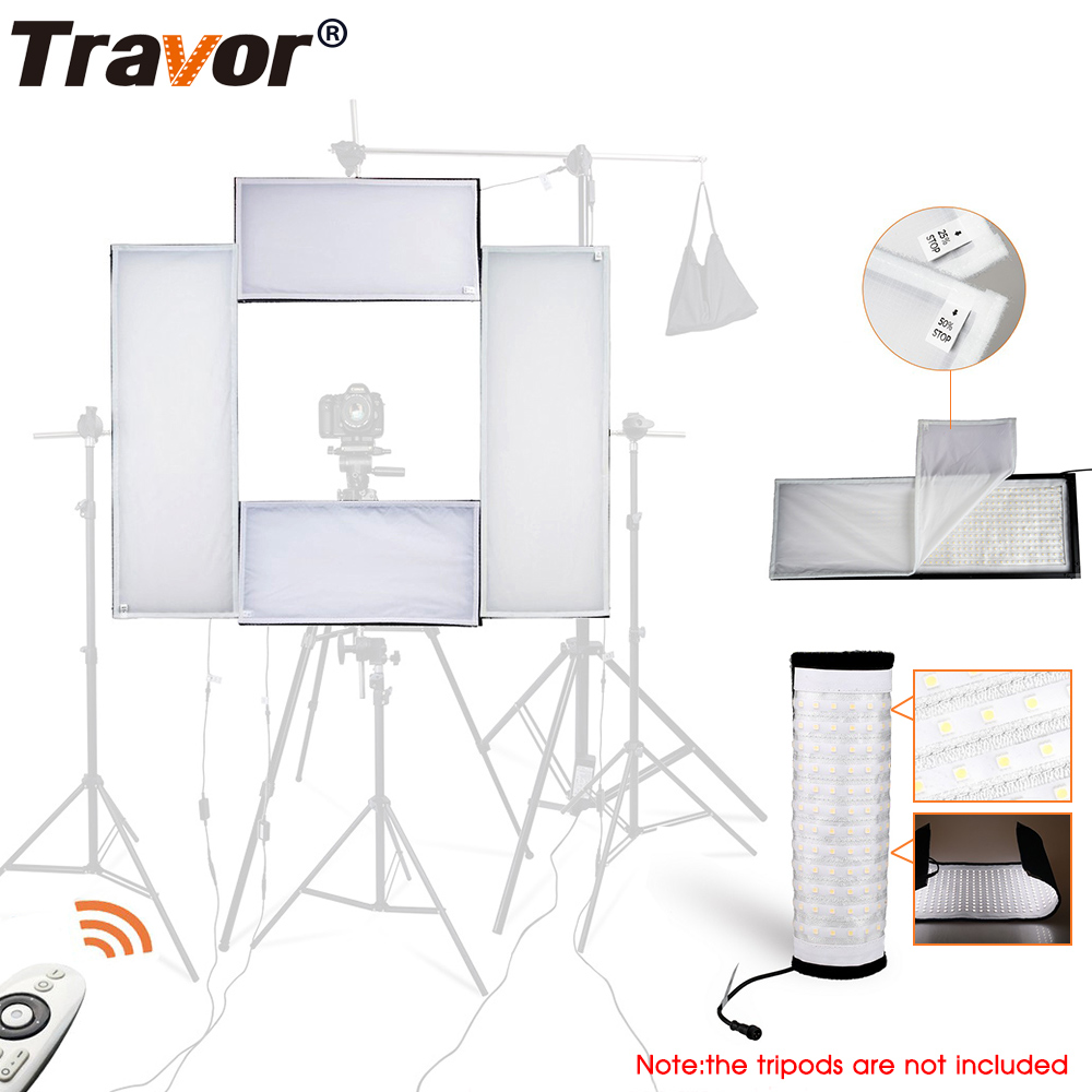 Travor 4 in 1 Flexible LED Video Light Strip Light Dimmable 5500K /Studio Light/Photography Light With 2.4G Remote Control travor flexible led video light fl 3060 size 30 60cm cri95 5500k with 2 4g remote control for video shooting