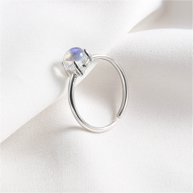 Flyleaf 925 Sterling Silver Rings For Women Simple Natural Gemstone Moonstone Simple Open Ring Fashion Wedding Jewelry Party in Rings from Jewelry Accessories