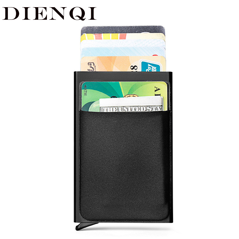 DIENQI Rfid Smart Wallet Credit Card Holder Metal Thin Slim Men Wallets Pass Secret Pop Up Minimalist Wallet Small Black Purse(China)