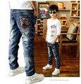 Новая мода мальчик джинсы детская одежда джинсы для мальчиков Детские брюки детские джинсы 5-10Y vetement enfant гарсон J0257