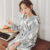 Children's Pajamas Winter Boys and girls double sided thick flannel sleepwear Robe children's pajamas