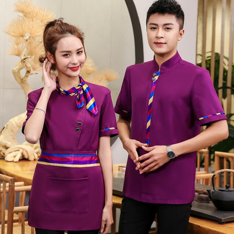 Restaurant Staff Uniform Short Sleeve Coffee Cake Bakery Waiter Overalls Hot Pot Fast Food Shop Plus Size Jacket Work Wear H2136(China)