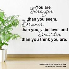 You Are Stronger Than You Seem removable black bathroom sticker