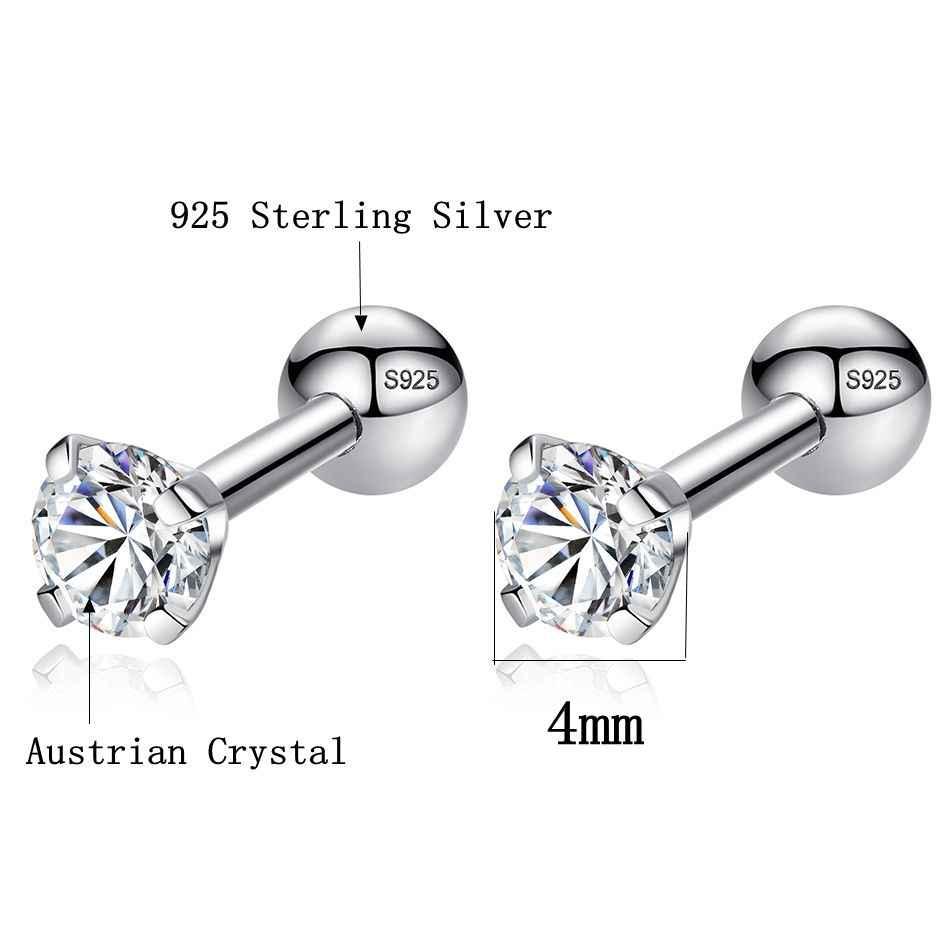 08ede0570 ... ELESHE CZ AAA Zircon Crystal Round Small Stud Earrings Wedding 925 Sterling  Silver Earring for Women ...