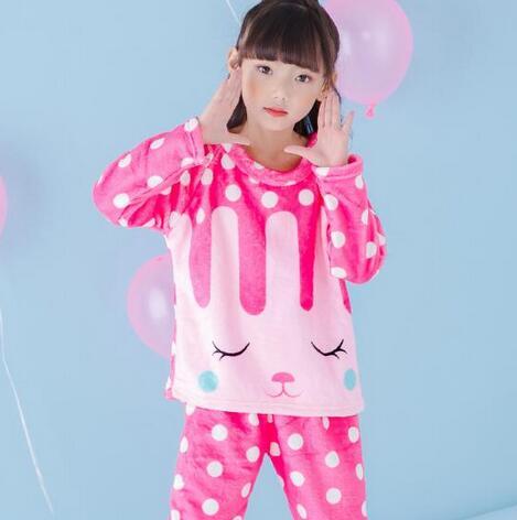 02ae7f725671 New Unisex Kids Winter Flannel Pajama Sets Children Boy Warm Thick ...