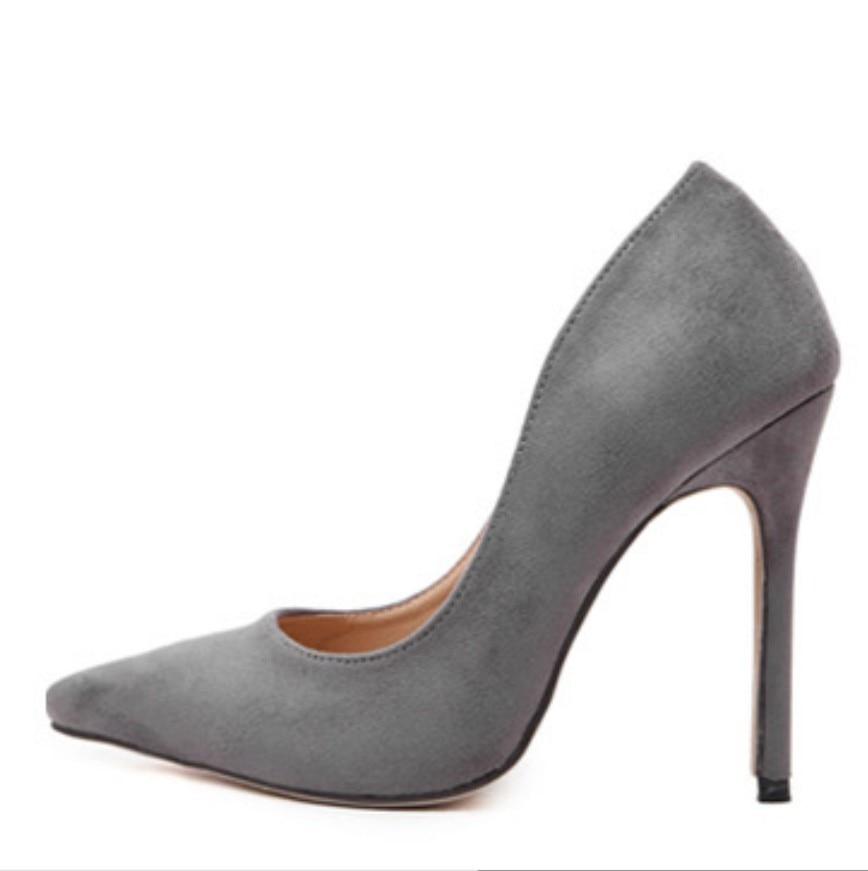 2016 women nubuck leather flock suede court shoes slip on office lady dress wedding pumps stilettos gray orage red black