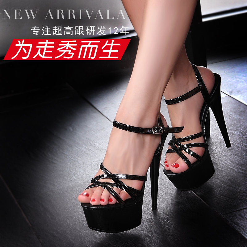 Qitong PU Woman Thin Ultra High Heels Platform Sandals Lady' Sexy Peep Toe Nightclub Womens Shoes Plus Big Size High Heeled Shoe ultra thin heels 20cm platform open toe print women s shoes plus size sexy 43 tiangao 42 34