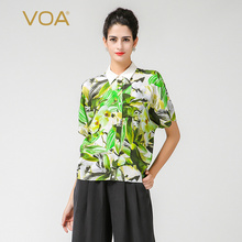 VOA short sleeve blouse for women green peter pan colloar 34mm thickness heavy silk shirts european
