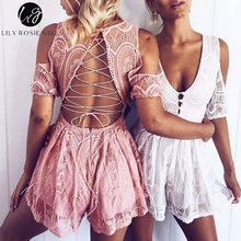 Lily Rosie Girl Sexy Backless Hollow Women White Lace Playsuit Deep VNeck Off shoulder Short Jumpsuit