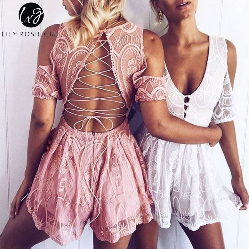 Lily Rosie Girl Sexy Backless Hollow Women White Lace Playsuit Deep VNeck Off shoulder Short   Jumpsuit   Party Beach Romper Overall