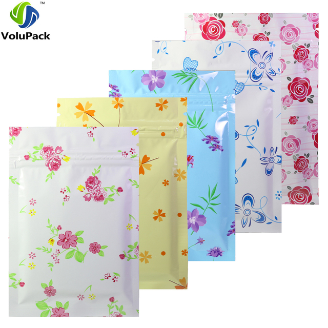 0b4d345a57 Flat Gift Package Bag 100pcs White Blue Red Pink Heart Flower Designs Aluminum  Foil Zip Lock Bags 3x4in  3x5in  4x6in