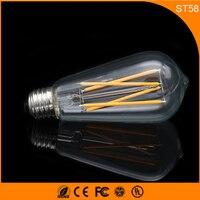 50 шт. Ретро Винтаж edison e27 b22 светодиодные лампы, ST58 4 Вт накаливания светодиодные Стекло свет лампы, теплый белый Энергосберегающая Лампы для