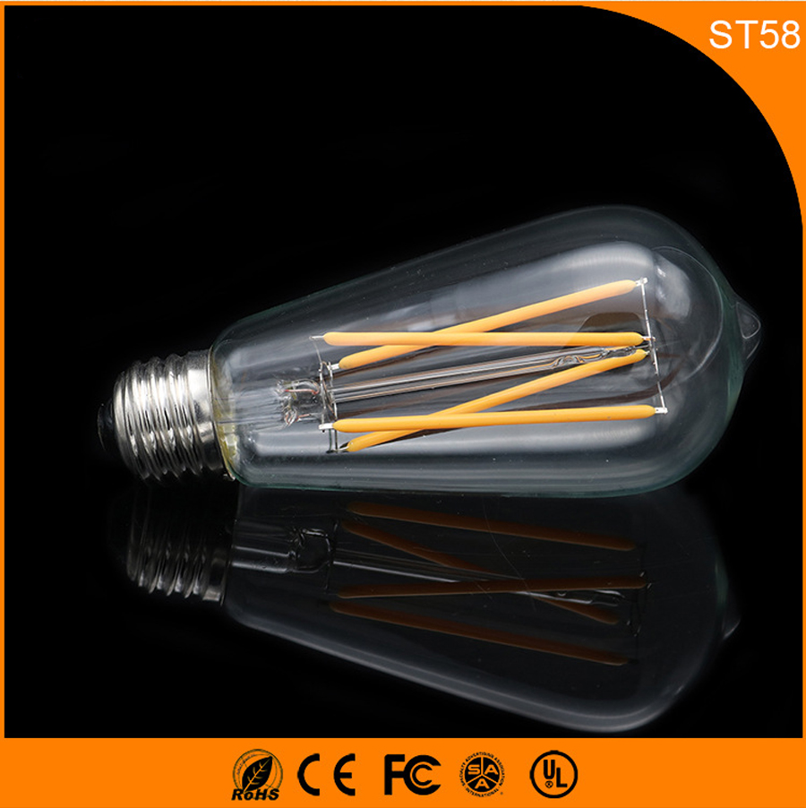50PCS Retro Vintage Edison E27 B22 LED Bulb ,ST58 4W Led Filament Glass Light Lamp, Warm White Energy Saving Lamps Light AC220V 5pcs e27 led bulb 2w 4w 6w vintage cold white warm white edison lamp g45 led filament decorative bulb ac 220v 240v
