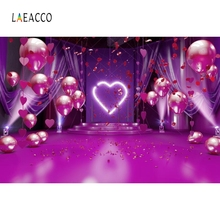 Laeacco Pink Heart Balloons Wedding Stage Portrait Photography Backgrounds Customized Photographic Backdrops for Photo Studio