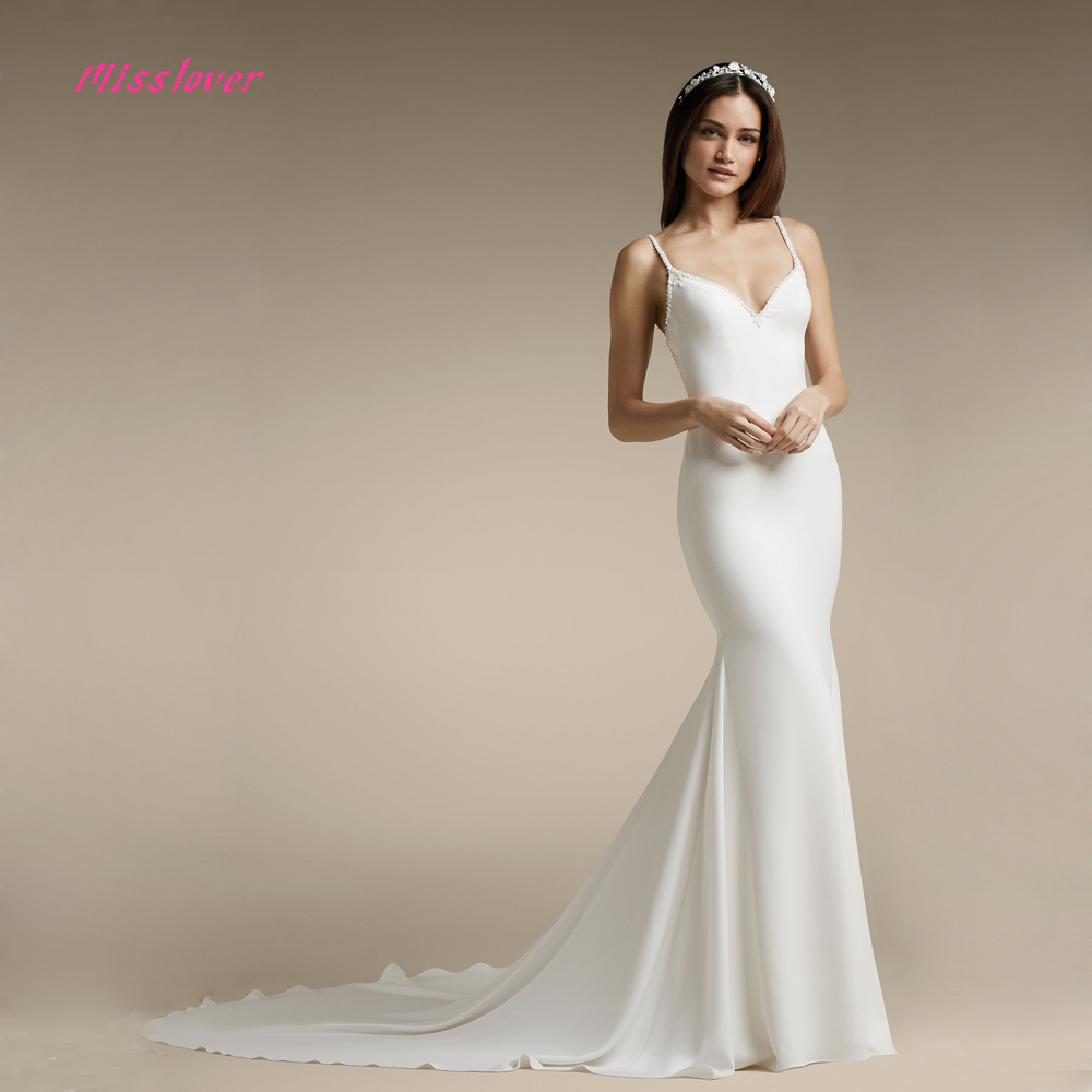 Satin Mermaid Wedding Gown: Simlple Soft Satin Vestido De Noiva Luxury Crystal Mermaid