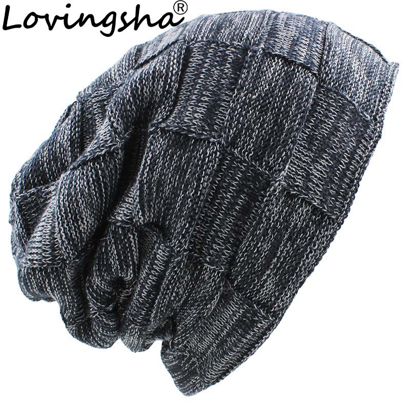 LOVINGSHA Brand Plaid Design Women Baggy Knitted Knit Skullies Bonnet Warm Hats For Girl Beanie Men Faux Fur Winter Hat Caps 2017 winter women beanie skullies men hiphop hats knitted hat baggy crochet cap bonnets femme en laine homme gorros de lana