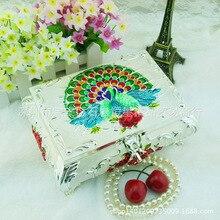 Павлин металлическая коробка, Европейский шкатулка, суд Jewelry Серьги-кольца шкатулка день рождения свадебный подарок (A106)