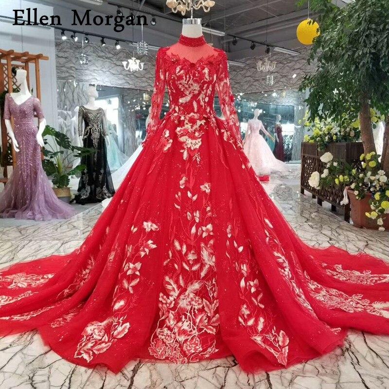 Vintage Wedding Dresses Red: Red Vintage High Neck Wedding Dresses Real Photos Puffy