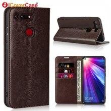 Funda tipo billetera para Huawei Honor View 20, Funda de cuero genuino de lujo para Huawei Honor View 20 V20, accesorio para teléfono móvil