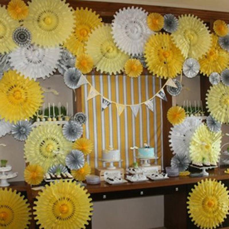 Nicro Yellow Silver Party 9 Pcs Set Paper Flower Paper Tassel Wall ...