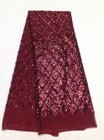 5 Y/pc Hot sale wine french net lace fabric with sequins decoration african mesh lace for dress LJ27-6