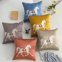 Luxury Fashion Horse Big 50x50cm Silk Embroidery Cushion Cover Pillow Cover Pillowcase Home Decorative Sofa Throw Pillows Chair