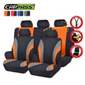 Colorful Sports Car Seat Covers Universal Fit For 5 Seats Car Styling Full Set Interior Car Covers Rear covers zippers design